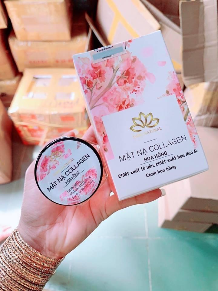 Mặt nạ Yến Tươi 100% Collagen Hoa anh đào SARA NATURAL mẫu mới