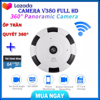 (Kèm Thẻ Nhớ 64 GbBH 5 Năm) camera wifi Full HD 2.0 mpx 1920 X 1080Pcamera ốp trần hình ảnh bao quátcamera không dây camera siêu nhỏ tầm qua sát rộngghi âm ghi hình quan sát cả ngày đêm thumbnail