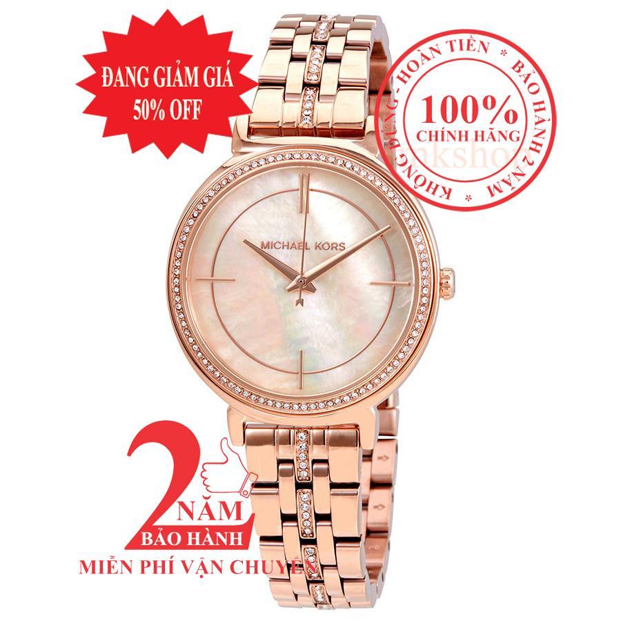 Nơi bán Đồng hồ nữ Michael Kors Cinthia MK3643, Vỏ, mặt và dây màu Vàng hồng (Rose Gold), mặt đồng hồ khảm trai, viền đá pha lê Swarovski, size 33mm