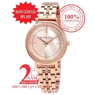 Đồng hồ nữ Michael Kors Cinthia MK3643, Vỏ, mặt và dây màu Vàng hồng (Rose Gold), mặt đồng hồ khảm trai, viền đá pha lê Swarovski, size 33mm thumbnail