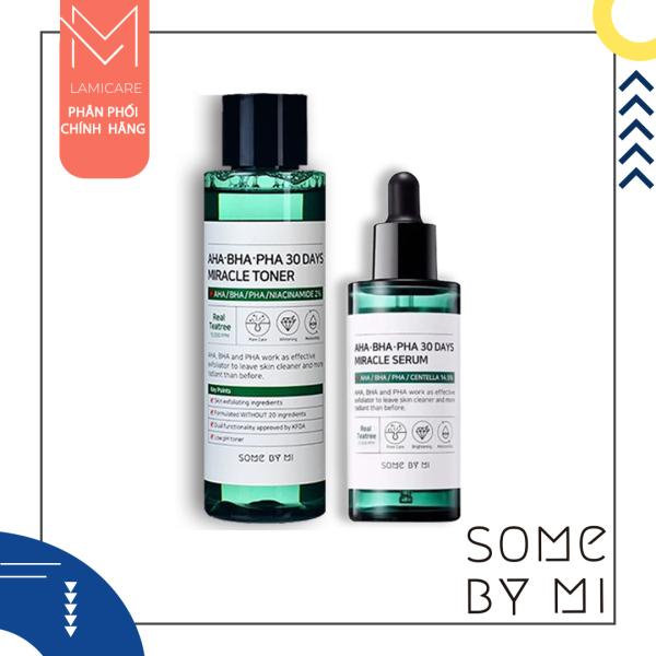 Bộ 2 sản phẩm xóa bỏ mụn thâm Some By Mi AHA-BHA-PHA 30 Days Miracle Acne toner, serum full size giá rẻ