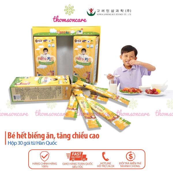 Hero Kid Gold, siro  Hộp 30 gói  giảm biếng ăn giúp bé ăn ngon cao lớn, tiêu hóa tốt - Nhập khẩu Hàn Quốc Herokid Hộp 30 gói siro uống tiện lợi