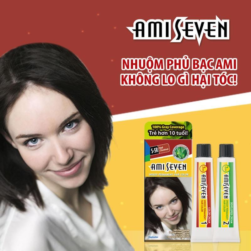 Nhuộm phủ bạc dược thảo Nhanh 7 Phút AMI SEVEN S5R Hạt dẻ ánh đỏ 60g-60g Hàn Quốc cao cấp