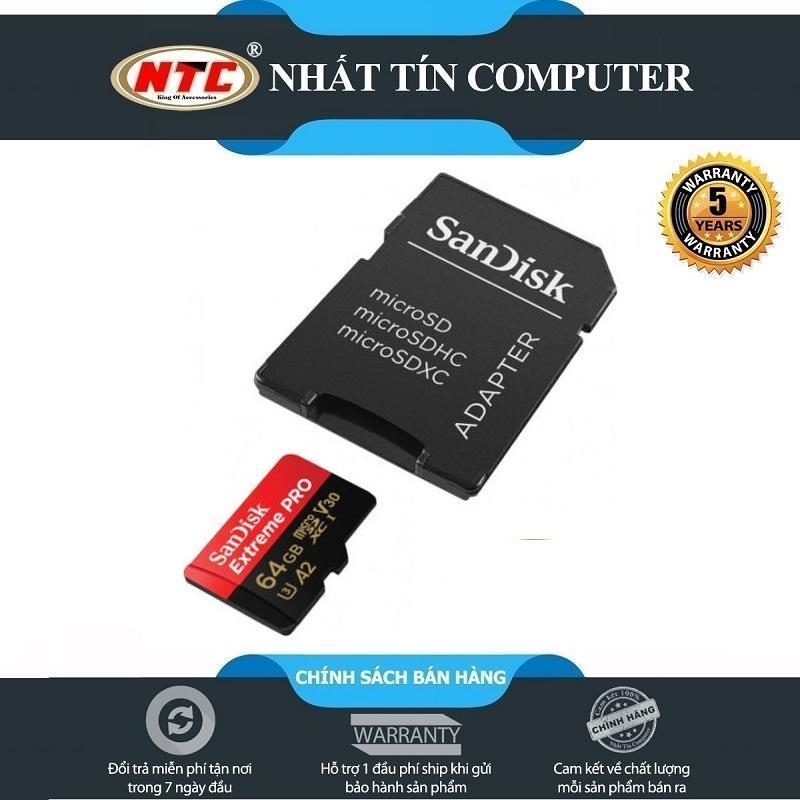 Thẻ Nhớ MicroSDXC SanDisk Extreme Pro A2 V30 U3 4K 64GB R170MB/s W90MB/s (Đen đỏ)