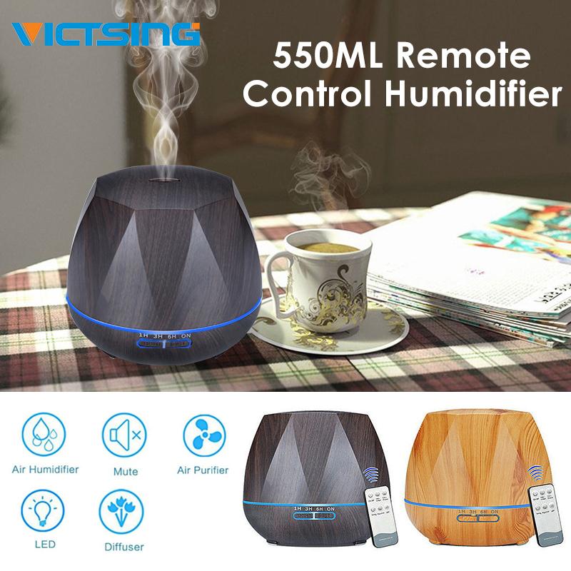 Máy khuếch tán tinh dầu hương gỗ kim cương VicTsing 550ML với đèn LED 7 màu Chức năng tự động tắt nước không tiếng thì thầm hoạt động cho văn phòng tại nhà Phòng ngủ Spa Phòng bé