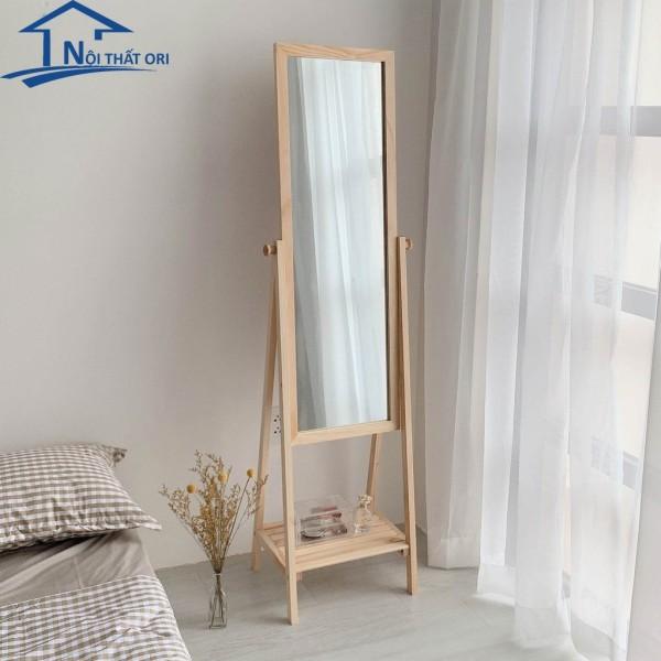 Gương soi toàn thân gương đứng phối kệ khung gỗ hàn quốc thiết kế mới - Nội Thất Ori