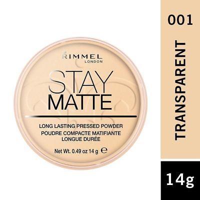 Phấn phủ kiềm dầu Rimmel London Stay Matte Long Lasting Pressed Powder #001 Transparent