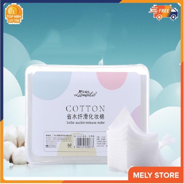 Hộp bông tẩy trang Lameila 1000 miếng loại mỏng, siêu dai, vuông, to, không tốn nước, giữ ẩm, 1 hộp bông tẩy trang cao cấp giá rẻ nội địa Trung Melystore SPU050