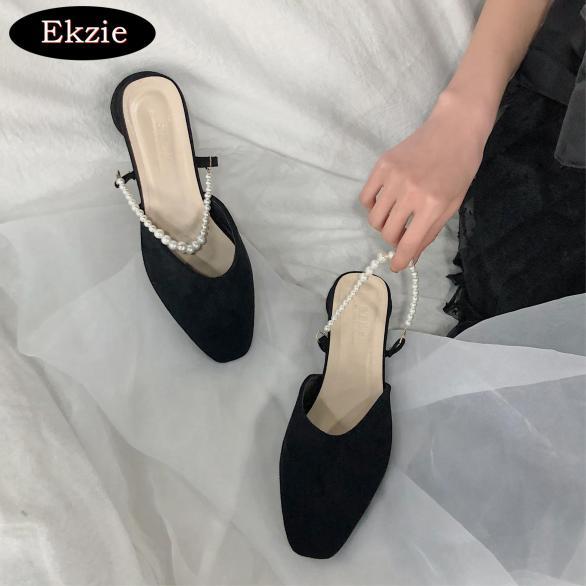 2021 mới đen hoang dã phong cách cổ tích mũi giày đế vuông ngón chân ngọc trai dép mueller dày gót dày dép giá rẻ