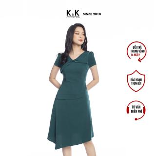 Đầm Công Sở Nữ Dáng Chữ A K&K Fashion KK105-03 Màu Xanh Vải Tuyết Kim Cao Cấp thumbnail