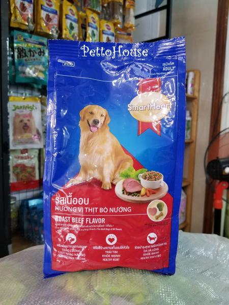 Combo 10 gói Thức ăn cho chó trưởng thành vị bò nướng SmartHeart Beef Adult 400g