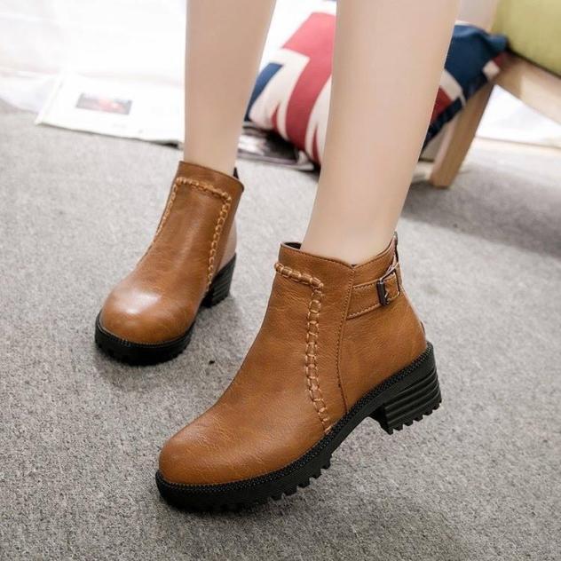 Bốt nữ cổ ngắn  - 2 Màu đen , nâu - LSG205 - Boot nữ da trơn đế cao 5cm - Giày bốt nữ mùa đông thời trang giá rẻ