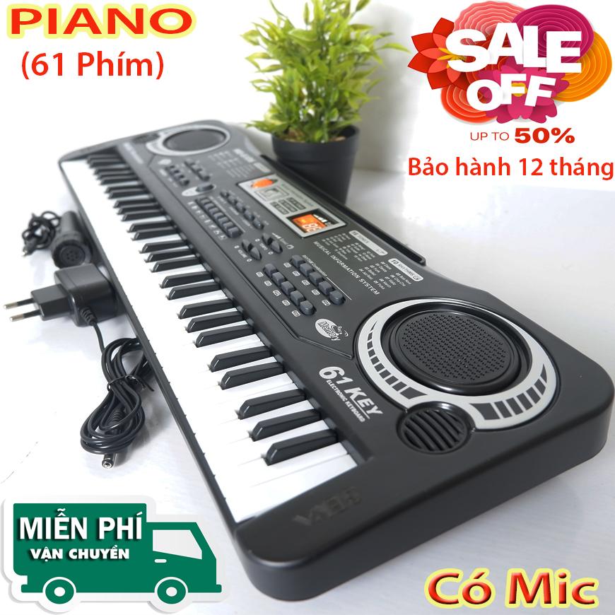 [ CHÍNH HÃNG PIANO ] Đàn Piano 61 Phím - Đàn Kỹ Thuật Số Âm Cực Hay - Đàn Có Mic Có Nguần, Bé học đàn tại nhà phát triển tay, trí não ,thuộc bàn phím- Bh 12 Tháng
