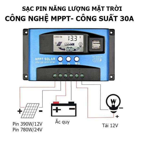 Bộ sạc pin mặt trời công nghệ MPPT 12v 24v công suất 30A, sạc pin năng lượng mặt trời MPPT 30A