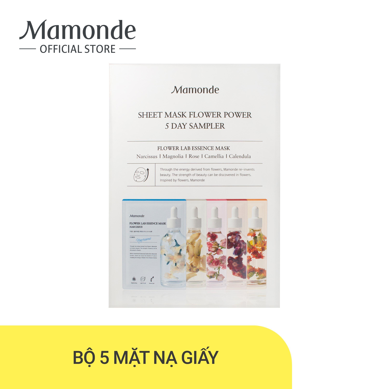 Bộ 5 mặt nạ giấy dưỡng da chiết xuất từ các loài hoa Mamonde Sheet Mask Flower Power 5 Day Sampler (25MLx5) cao cấp