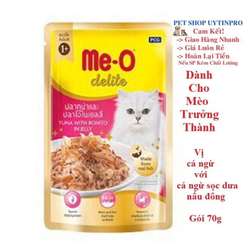 THỨC ĂN CHO MÈO Me-O delite Dạng Pate Vị cá ngừ với cá ngừ sọc dưa nấu đông Gói 70g Xuất xứ Thái Lan