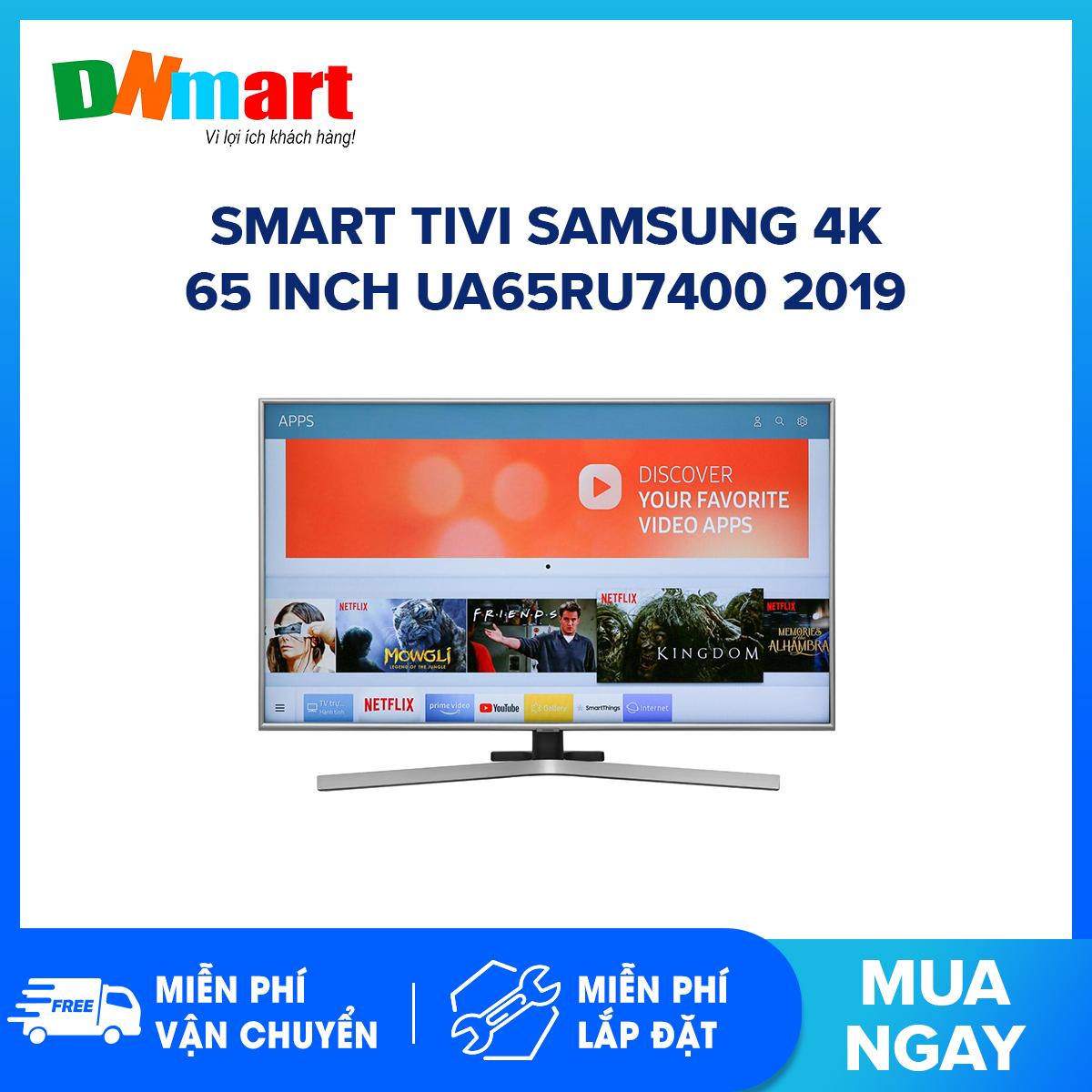 Bảng giá Smart Tivi Samsung 4K 65 inch UA65RU7400 tìm kiếm giọng nói tiếng việt, Bluetooth:Có (Loa, chuột, bàn phím) Kết nối Internet:Cổng LAN, Wifi Cổng AV:Có cổng Composite và cổng Component Cổng HDMI:3 cổng