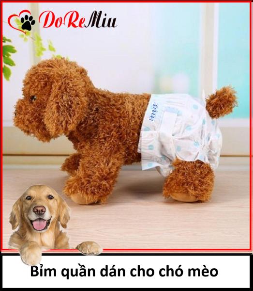 Doremiu - Tã bỉm chó mèo (Bịch 10 miếng Size S) Bỉm quần dạng dán cho chó cái và mèo (từ 2-6kg)