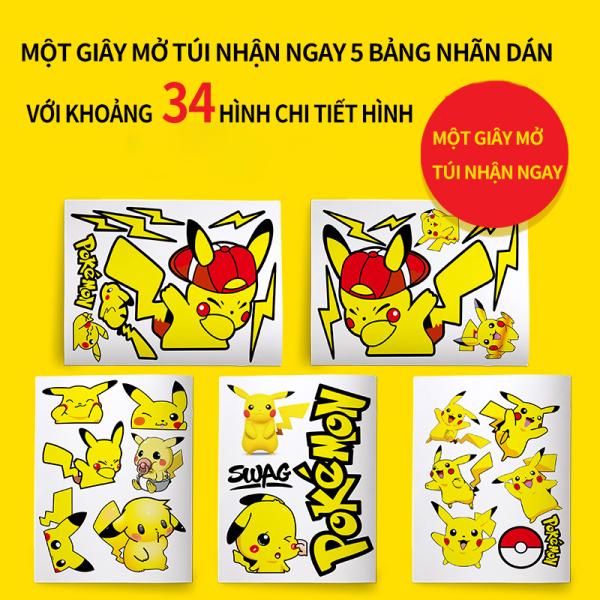 Bộ sticker dán xe ô tô, miếng dán xe hơi, xe máy,xe điện, sticker hình dán Pikachu, nhãn dán cá tính, che vết trầy xước