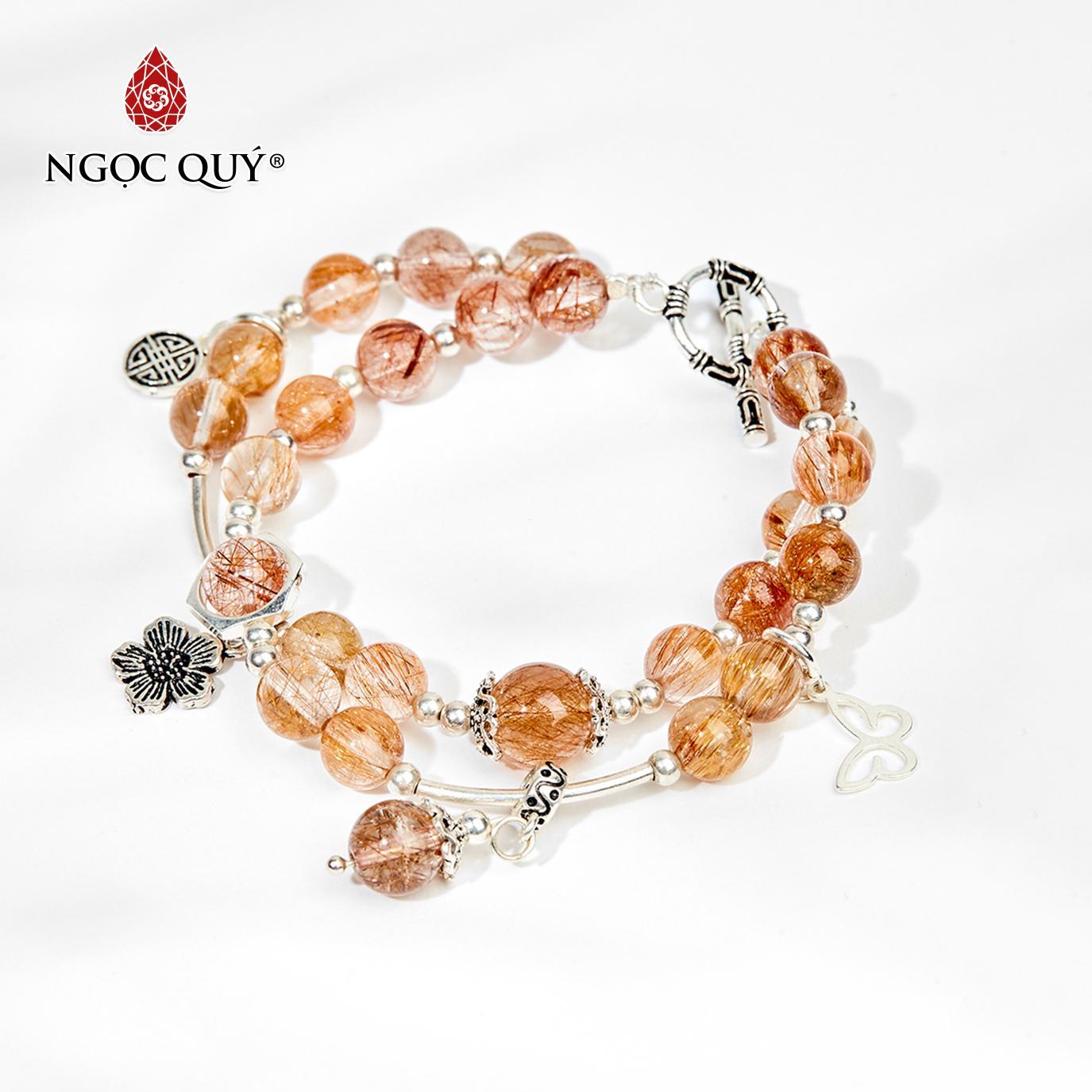 Vòng tay đá thạch anh tóc đỏ charm hoa 7mm mệnh hỏa,thổ (màu đỏ cam) - Ngọc Quý Gemstones