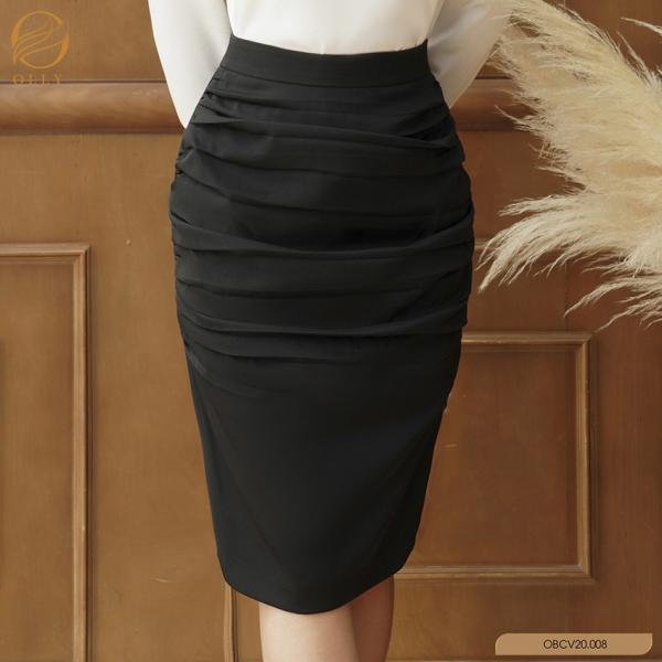 Chân váy ôm nhún nhân trước OLLY OBCV20.008