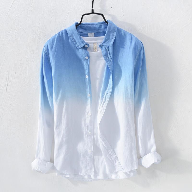 f68d21750e Fresh Gradient Linen Shirt Men Long Sleeve Summer Leisure Loose Breathable  Beach Holiday Sun-resistant