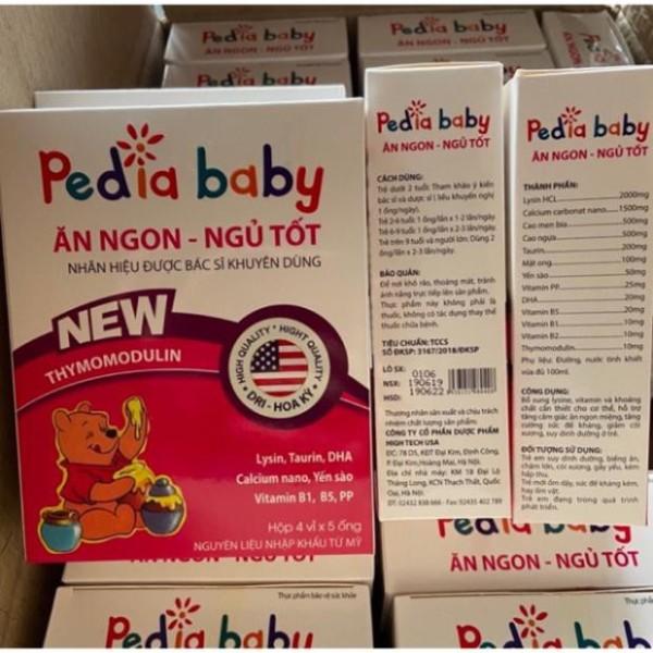 Pediababy bé  ăn ngon ngủ tốt hộp 20 ống, sản phẩm có nguồn gốc xuất xứ rõ ràng, đảm bảo chất lượng, dễ dàng sử dụng