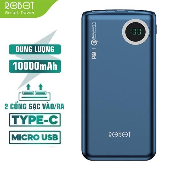 Giá [ Bảo Hành 12 Tháng 1 Đổi 1 ]  Pin sạc dự phòng dung lượng thực 10000mAh ROBOT 100Q chuẩn sạc nhanh PD/QC 3.0 hỗ trợ sạc nhanh 18W đèn LED hiện thị mức PIN - Hàng Chính Hãng