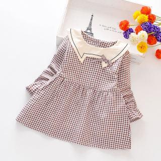 Đầm Bé Gái KTtrade Từ 1-5 Tuổi, Đầm Dài Tay, Vải Bông 100% Họa Tiết Kẻ Sọc, Trang Phục Trẻ Em Cho Bé Gái