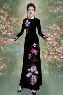 Áo dài truyền thống Mai Lan hoa cúc Bách Nhật cao cấp - KHÔNG KÈM QUẦN thumbnail