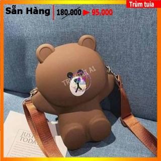 [HCM][ TÚI MẸ VÀ BÉ ] Túi Đeo Chéo Silicon Hình Gấu Brown Bear Cỡ Lớn Kèm 2 Dây Đeo Chéo thumbnail