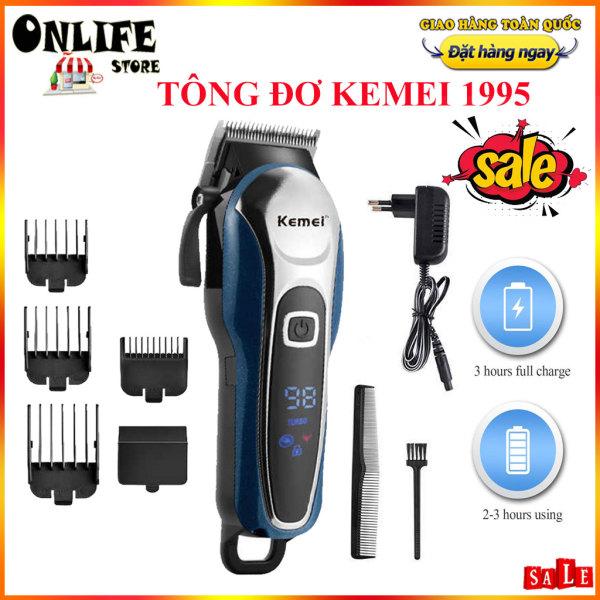 Máy Cắt Tóc, May Hot Toc, Tăng Đơ, Tông Đơ Cắt Tóc Kemei -Tông đơ cắt tóc cao cấp Kemei 1995 thân nhôm nguyên khối, tăng đơ hớt tóc (tong do cat toc) chuyên nghiệp không dây sạc pin giá rẻ