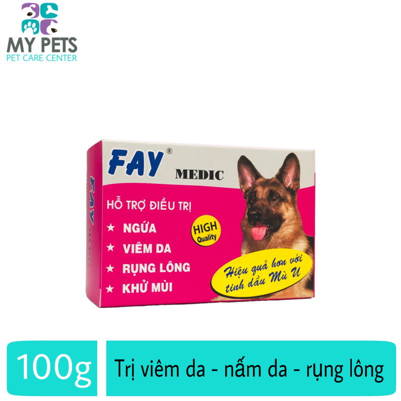 Xà phòng tắm trị nấm da, rụng lông, ve ghẻ chó mèo - Fay Medic 100g