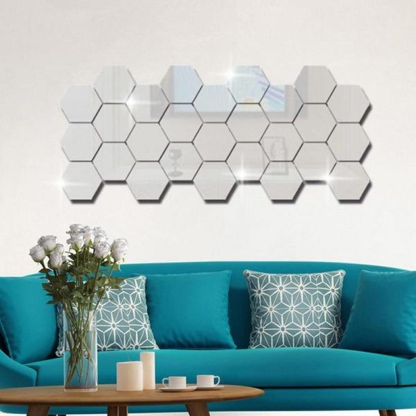 Bộ 12 gương dán tường hình lục giác, gương dán tường, kích cỡ 4cm x 4cm, gương dán tường trang trí phòng khách, nhà vệ sinh - gương trang trí, hình lục giác giá rẻ