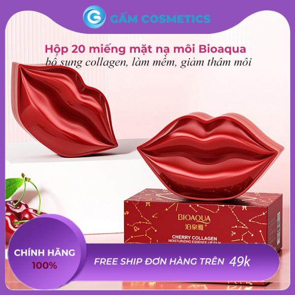 [CHÍNH HÃNG] Mặt nạ dưỡng môi Bioaqua Cherry Collagen hộp 20 miếng giảm thâm làm hồng môi hàng nội địa Trung - Gấm Cosmetics cao cấp