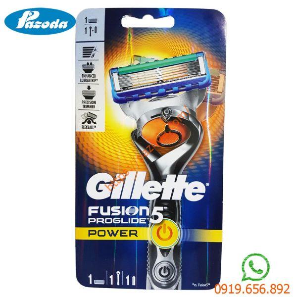 Dao cạo râu 5 lưỡi Gillette Fusion5 Proglide Power (1 tay cầm sử dụng pin và 1 đầu cạo)
