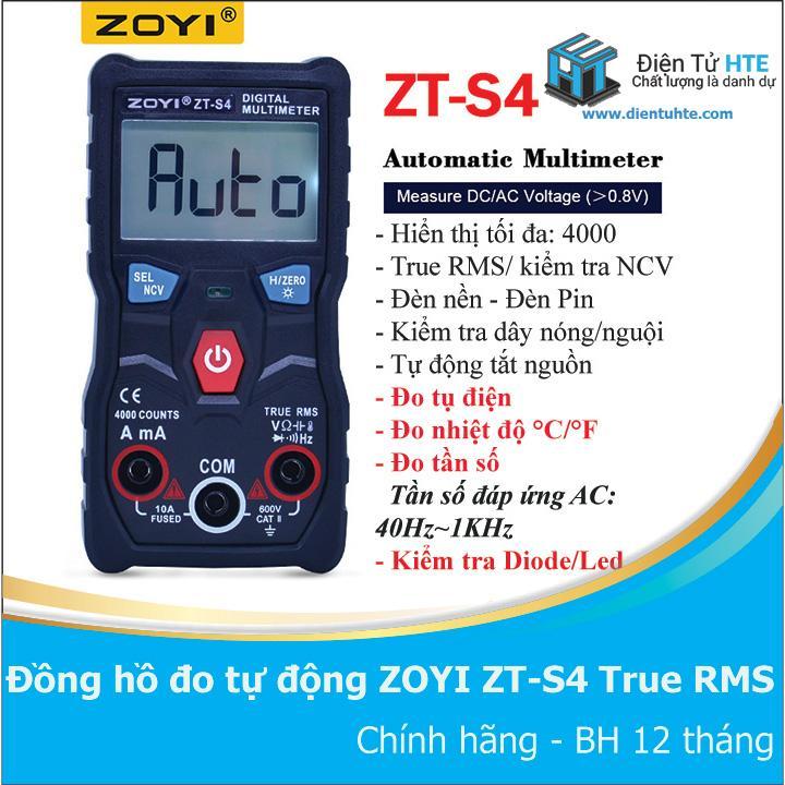 Đồng hồ đo tự động hoàn toàn ZOYI ZT-S4 True RMS -- ZT-S1 version 2019
