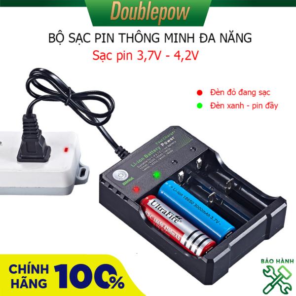 Bộ sạc nhanh pin 18650 3,7V, sạc thông minh tự ngắt và báo đèn khi pin đầy BH-18650-04 - Loại có phích cắm điện (sạc nhanh hơn 2400mA)