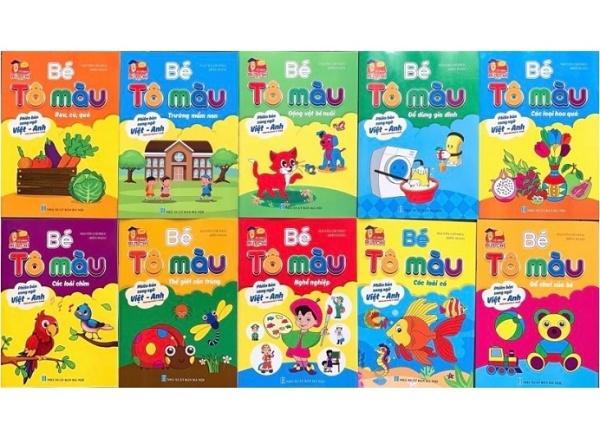 Sách - Combo Bé tô màu phiên bản song ngữ Việt - Anh (10 quyển)