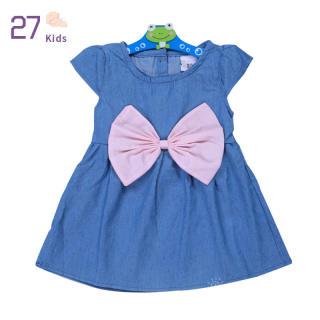 27 Đầm Bé Gái, Đầm Ngắn Tay Váy Denim Nơ Lớn Màu Trơn, 1-3 Y