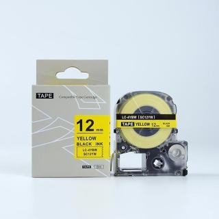 Tape nhãn in SC12YW (LC-4YBW) tương thích máy in nhãn KingJim SR & EPSON LW - Nhãn in chữ đen nền vàng 12mm thumbnail