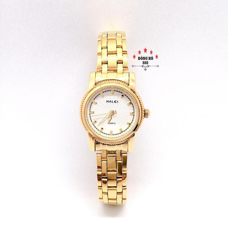 Đồng hồ nữ HALEI dây kim loại thời thượng ( HL501 dây vàng mặt trắng ) - Kính Chống Xước, Chống Nước Tuyệt Đối, Mạ PVD Cao Cấp Chống Gỉ Chống Phai Màu Thời Trang Hottrend 2020