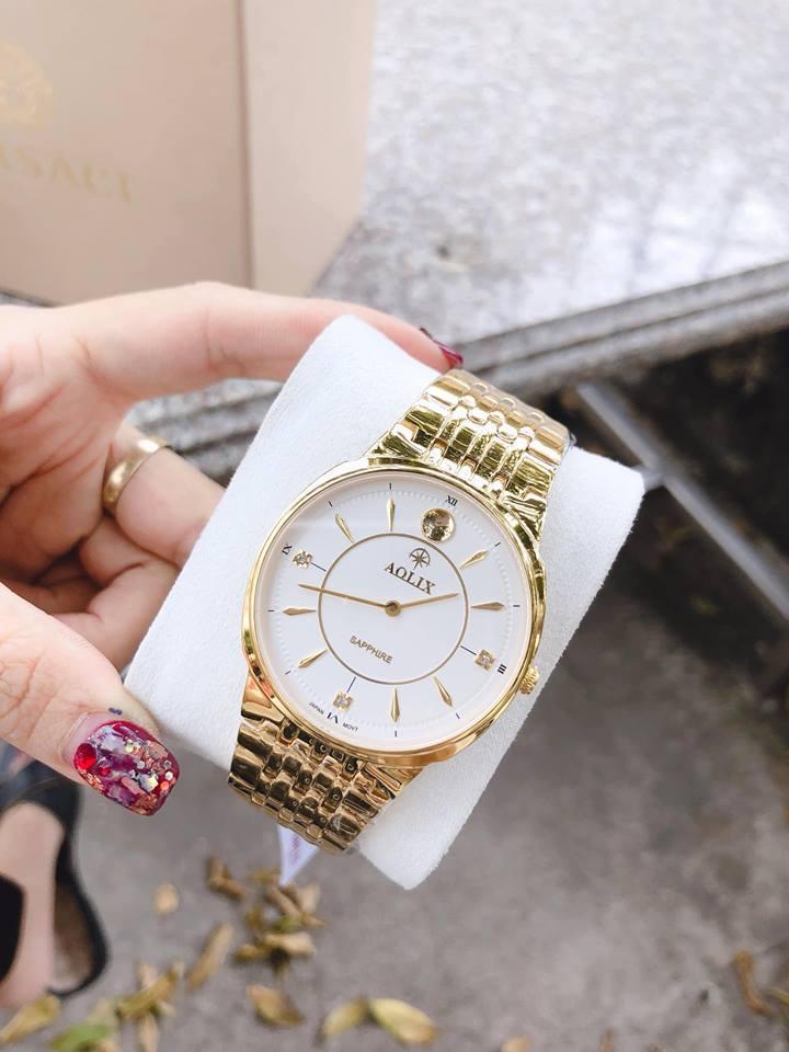 Đồng hồ nam dây kim loại Aolix mặt trắng (dây bạc, dây vàng) bán chạy