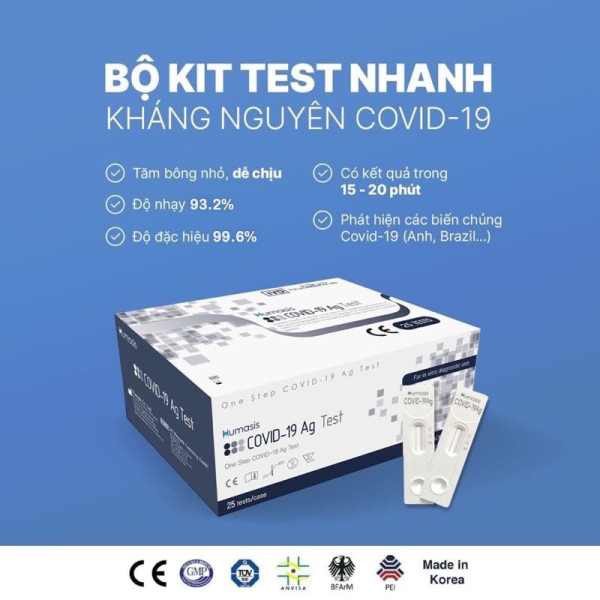 Kit Test nhanh Covid 19 tại nhà Humasis Ag - Được Bộ Y Tế công nhận, hiệu quả cao, thời gian cho kết quả mau, được đưa vào sử dụng trong Y Tế (Giá 1 Kit 4 món)