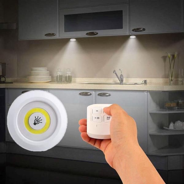Bảng giá [GD224] Bộ 3 đèn led mini dán tường có remote điều khiển từ xa  có chức năng hẹn giờ trang trí phòng ngủ tủ quần áo
