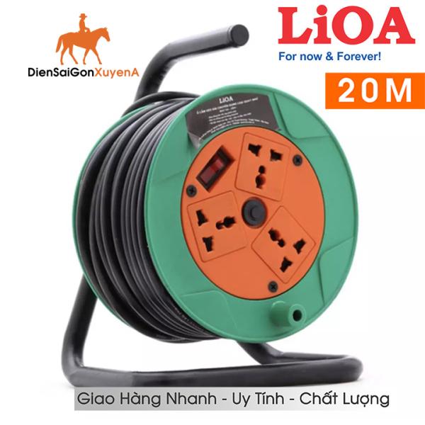 Ổ CẮM QUAY CÔNG NGHIỆP - Ổ cắm điện Rulo 20 mét 10A LIOA QN20-2-10A ( Bảo vệ quá tải bằng CB ) - Điện Sài Gòn Xuyên Á