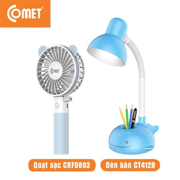 Combo cho Mẹ và Bé: Quạt sạc cầm tay mini COMET CRF0803P/B & Đèn bàn Led COMET CT412B/P thiết kế nhỏ gọn, chất liệu nhựa cao cấp , tiết kiệm năng lượng, quạt nhiều chế độ, pin Lithium, chống lóa bảo về mắt