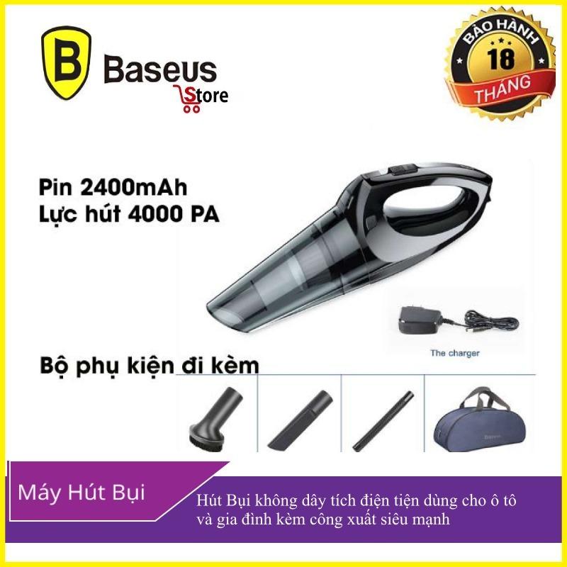 Máy hút bụi cầm tay không dây đa năng thông minh tích điện pin 2400 mAh công suất hút 4000 Pa thương hiêu Baseus H-505 dùng trên xe hơi và gia đình - Phân phối bởi Baseus Baseusstore
