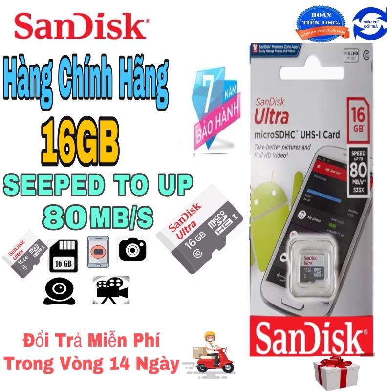 Thẻ Nhớ MicroSDHC SanDisk Ultra 16GB 533x 80MB/s SDSQUNS-016G-GN3MN Tốc độ đọc 80 MB/s Tốc độ Ghi 10 MB/s.Bảo hành 1 đổi 1 trong vòng 7 năm các lỗi về kỹ thuật.