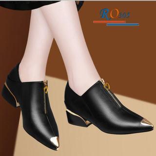 Giày bốt nữ cổ ngắn đế vuông 4cm hàng hiệu Rosata RO305